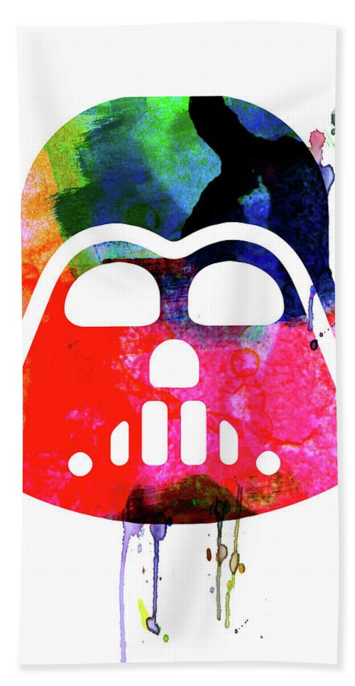 Darth Vader Beach Towel featuring the mixed media Darth V Helmet Cartoon Watercolor by Naxart Studio