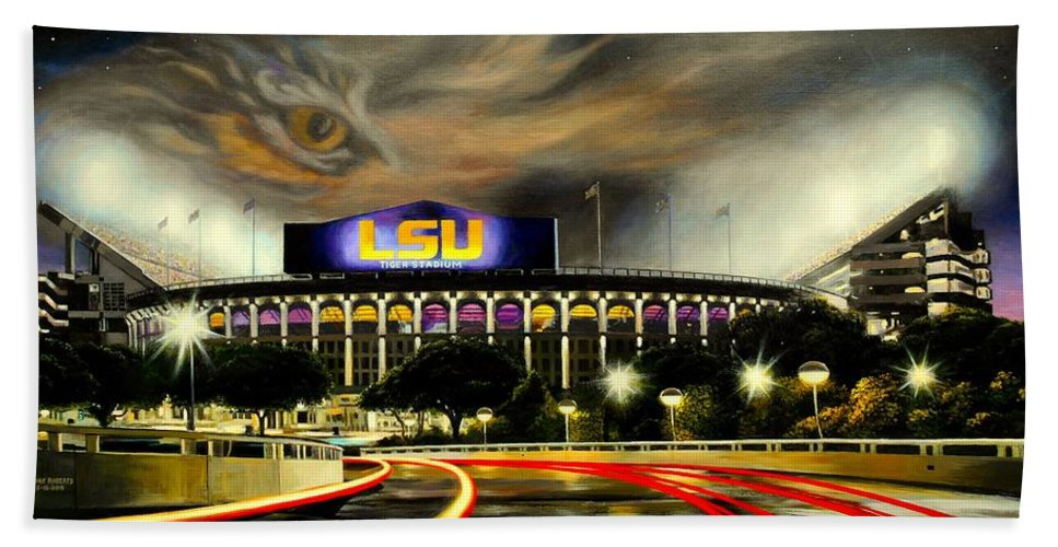Art Beach Towel featuring the painting Death Valley Game Time by Mike Roberts