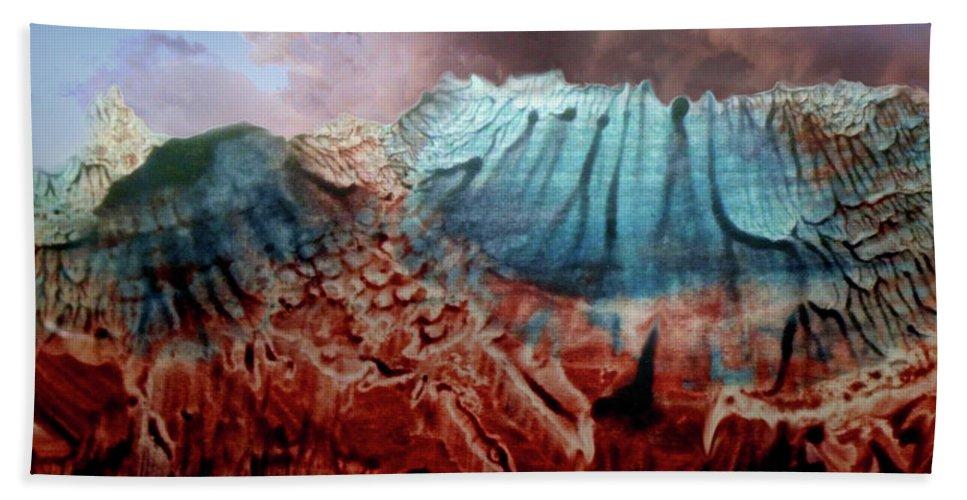 Otto Rapp Beach Towel featuring the digital art Decalcomaniac Eruption by Otto Rapp