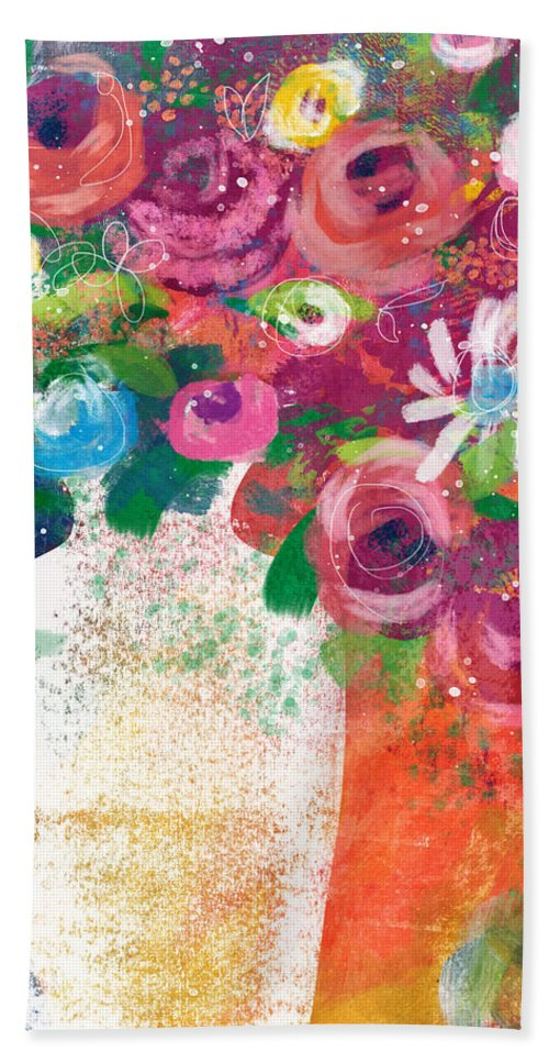 Floral Beach Towel featuring the mixed media Delightful Bouquet 2- Art By Linda Woods by Linda Woods