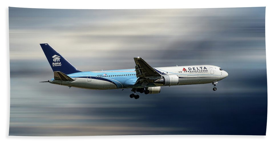 Delta Beach Towel featuring the mixed media Delta Air Lines Boeing 767-332 by Smart Aviation