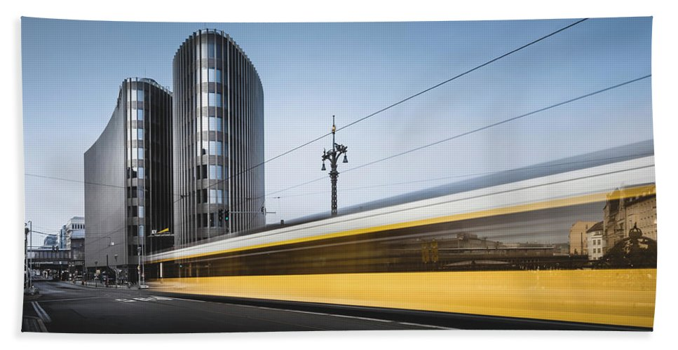 Contemporary Beach Towel featuring the photograph Der Gelbe Blitz, Berlin, Germany, 2015 by Ronnie Behnert