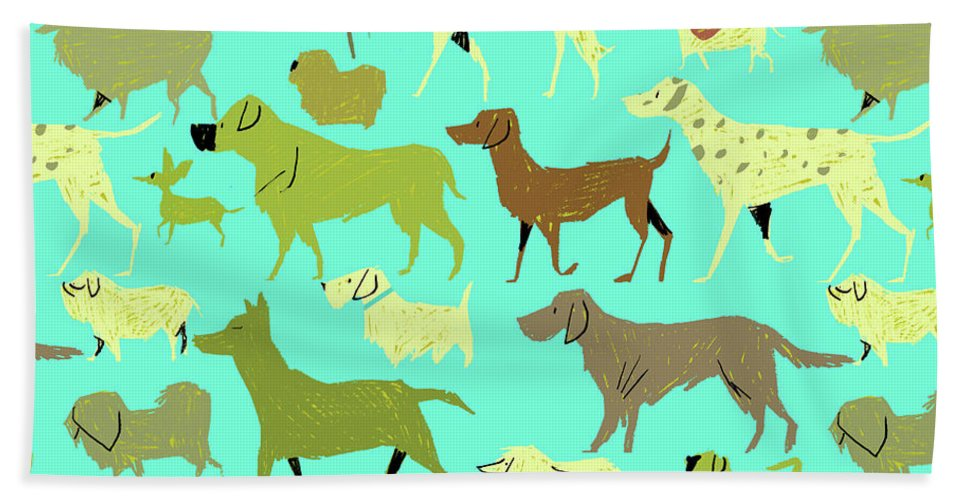 50s Beach Towel featuring the mixed media Dogs by A Richard Allen