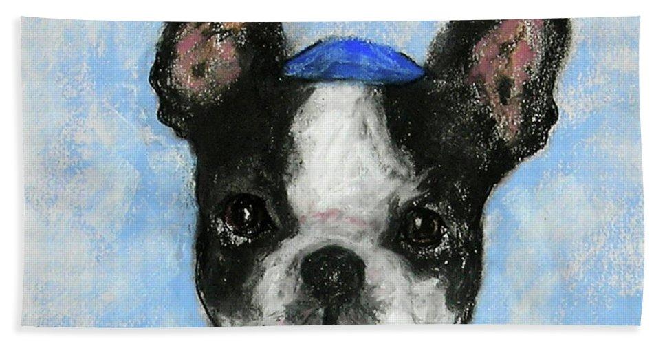 Boston Terrier Beach Towel featuring the drawing Dreideler by Cori Solomon