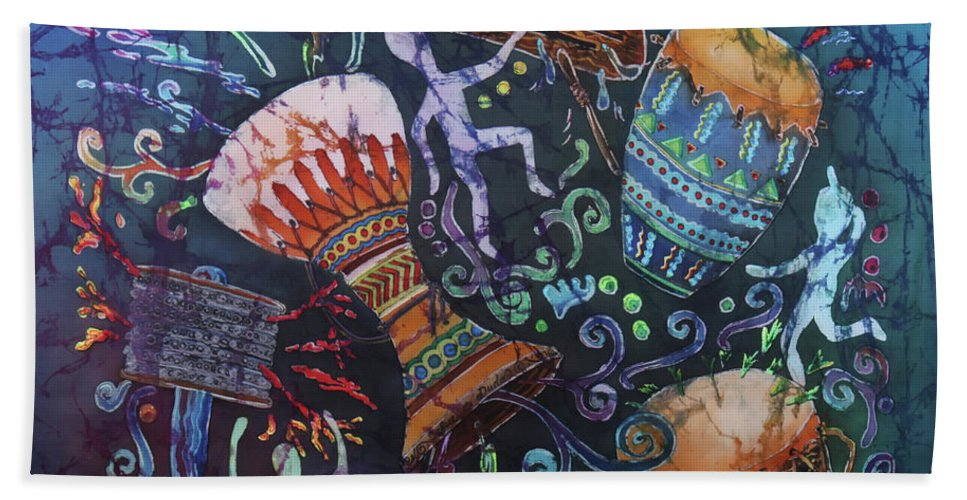 Drums Beach Towel featuring the painting Drumbeat by Sue Duda