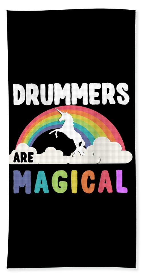 Unicorn Beach Towel featuring the digital art Drummers Are Magical by Flippin Sweet Gear