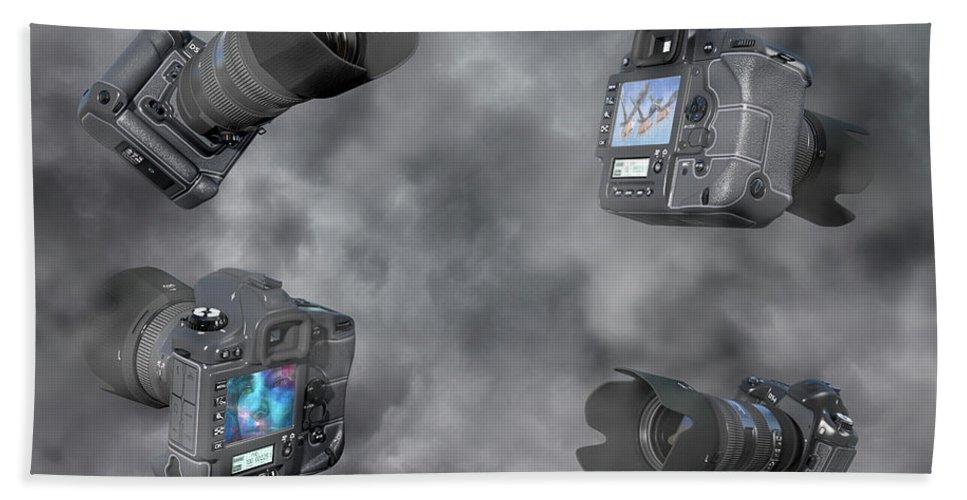 Camera Beach Sheet featuring the digital art Dslr Cameras by Betsy Knapp