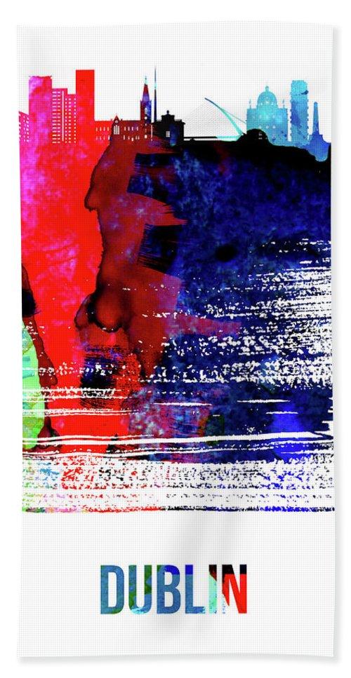 Dublin Beach Sheet featuring the mixed media Dublin Skyline Brush Stroke Watercolor  by Naxart Studio