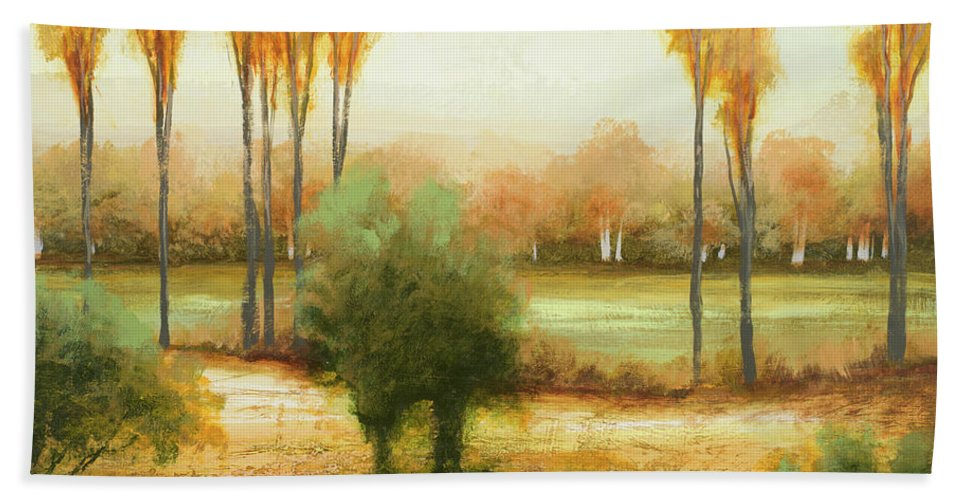 Early Beach Towel featuring the painting Early Morning Meadow I by Michael Marcon