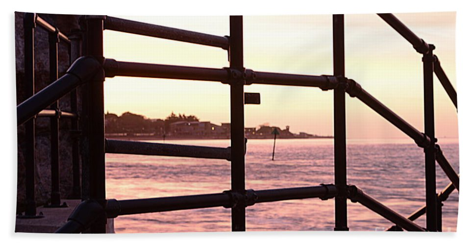 Railings Beach Towel featuring the photograph Early Morning Railings by Andy Thompson