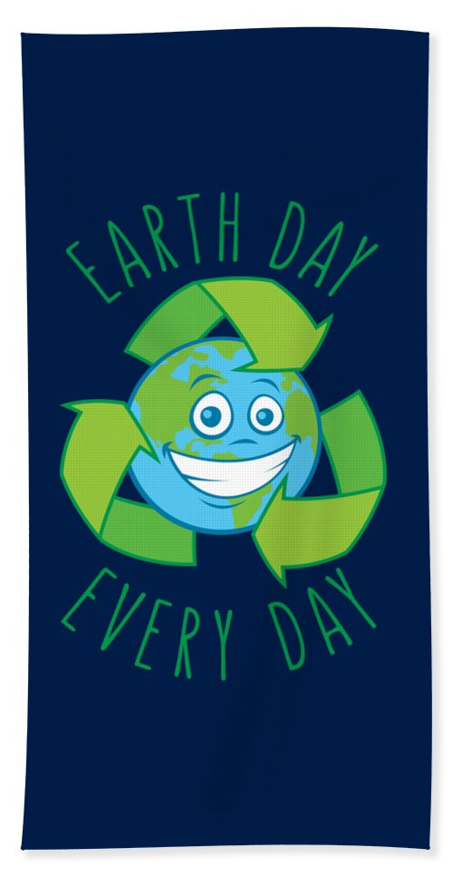 Green Beach Towel featuring the digital art Earth Day Every Day Recycle Cartoon by John Schwegel