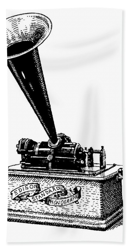 Phonograph. Edison. Edison's Phonograph. Wax Cylinder. Phonograph Illustration. Edison Illustration. Edison's Phonograph Illustration. Wax Cylinder Illustration. Beach Towel featuring the drawing Edisons Baby by Dan Nelson