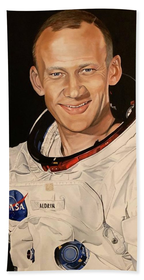 Apollo Beach Towel featuring the painting Edwin Buzz Aldrin by Brian Broadway