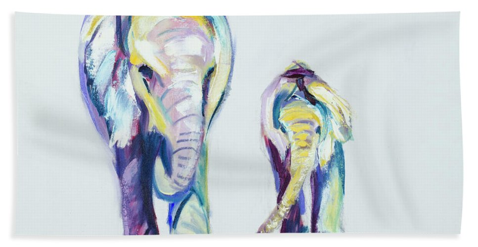 Elephants Beach Towel featuring the painting Elephants Side By Side by Nickie Perrin Paintings