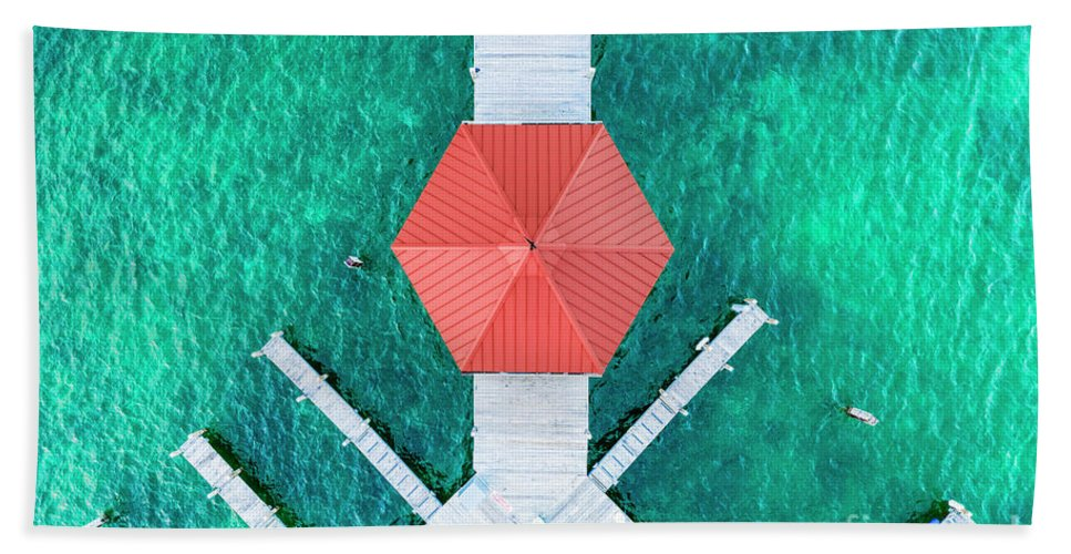 Elk Rapids Beach Towel featuring the photograph Elk Rapids Gazebo Aerial by Twenty Two North Photography