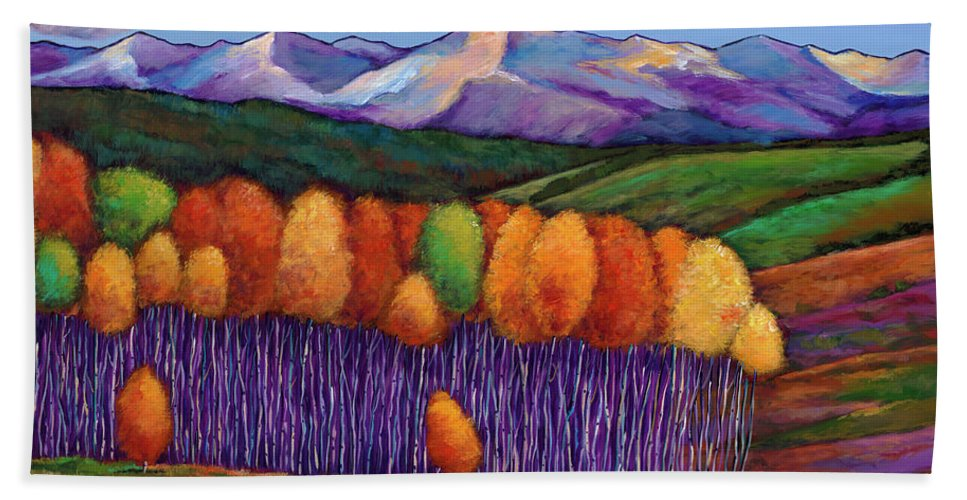 Aspen Trees Beach Towel featuring the painting Elysian by Johnathan Harris