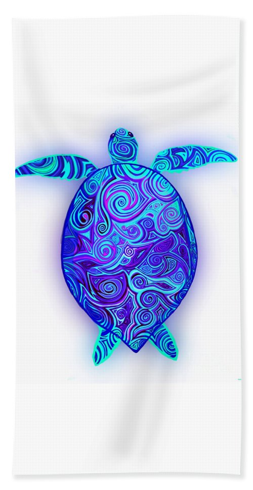 Sea Turtle Beach Sheet featuring the digital art Endangered Sea Turtle by Nick Gustafson