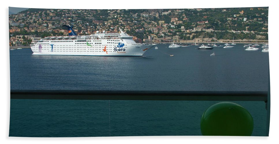 Boat Beach Towel featuring the photograph Enjoying The French Riviera View by Richard Henne