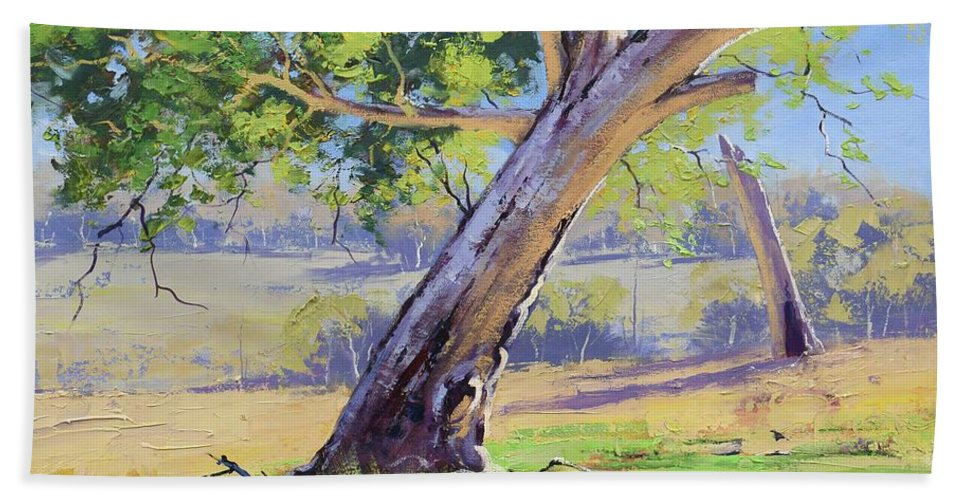 Rural Beach Towel featuring the painting Eucalyptus Tree Australia by Graham Gercken