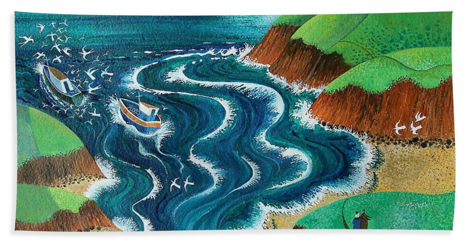 Blue Beach Towel featuring the painting Evening Sea Breezes by Lisa Graa Jensen