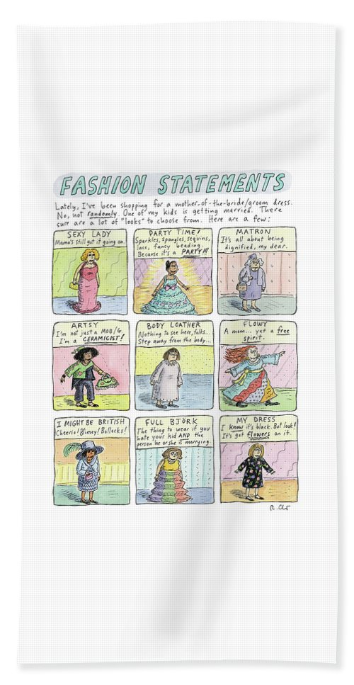 Fashion Statements Beach Sheet featuring the drawing Fashion Statements by Roz Chast