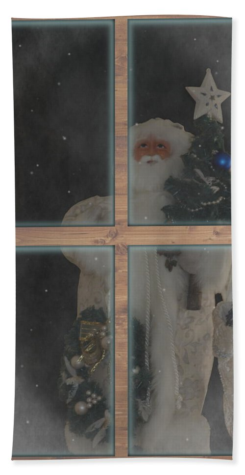 Father Christmas Beach Towel featuring the photograph Father Christmas in Window by Colleen Cornelius