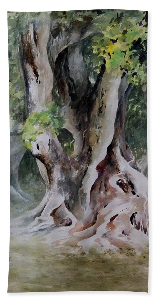 Landscape Beach Towel featuring the painting Ficus Aurea by William Russell Nowicki