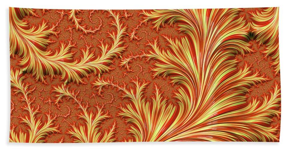 Fractal Beach Towel featuring the digital art Fire Fern by Elisabeth Lucas