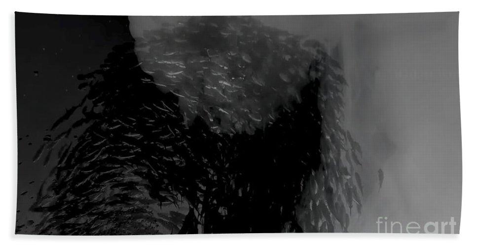 Fish Beach Towel featuring the digital art Fish And Smoke Part2 by Ekaterina Moskalyuk