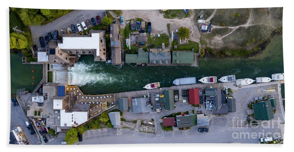 Leland Beach Towel featuring the photograph Fishtown Dam Panorama From Above by Twenty Two North Photography