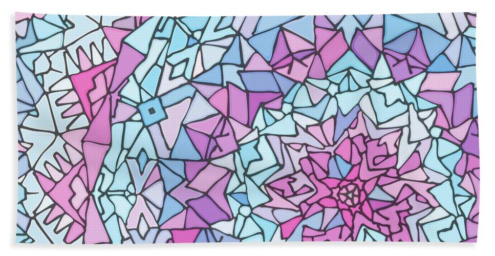 Mandala Beach Towel featuring the digital art Comfortably Cosmic, in Lavendar by James Fryer