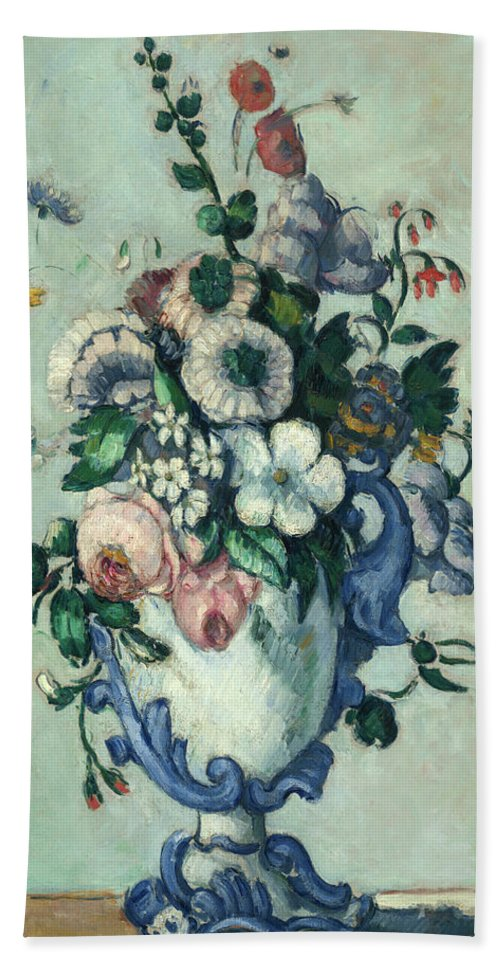 Paul Cezanne Beach Sheet featuring the painting Flowers In A Rococo Vase, Circa 1876 by Paul Cezanne