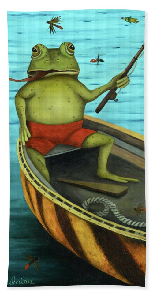 Frog Beach Towel featuring the painting Fly Fishing by Leah Saulnier The Painting Maniac