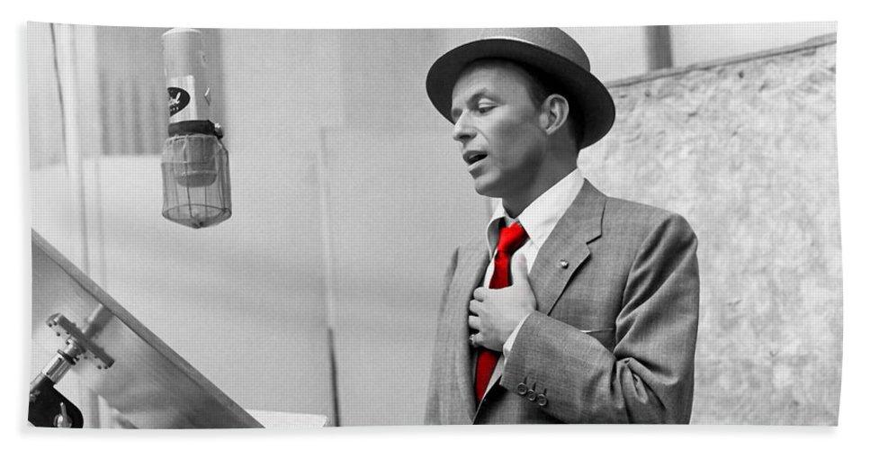 Frank Sinatra Beach Towel featuring the mixed media Frank Sinatra Painting by Marvin Blaine