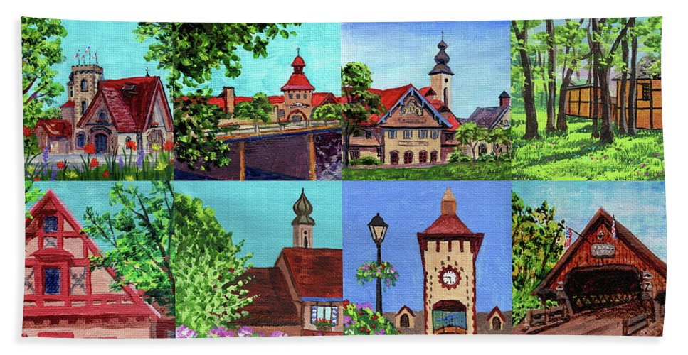Frankenmuth Beach Towel featuring the painting Frankenmuth Downtown Michigan Painting Collage I by Irina Sztukowski