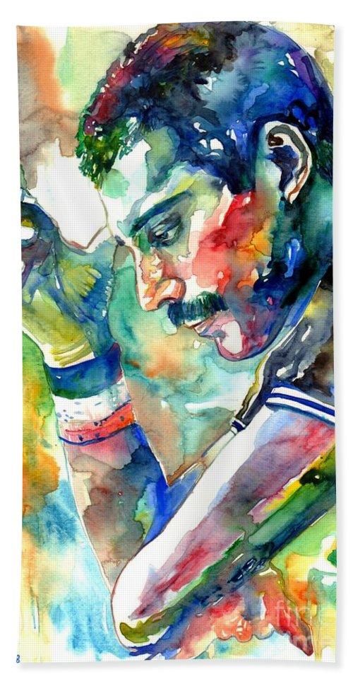 Freddie Mercury Beach Towel featuring the painting Freddie Mercury With Cigarette by Suzann Sines
