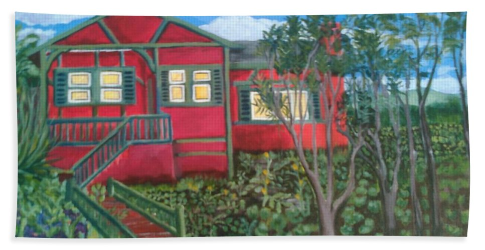 Painting Of House Beach Towel featuring the painting Fresh yard by Andrew Johnson