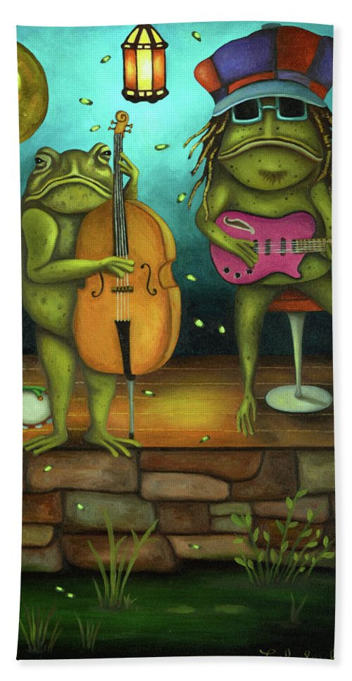 Frog Beach Towel featuring the painting Frog Music by Leah Saulnier The Painting Maniac