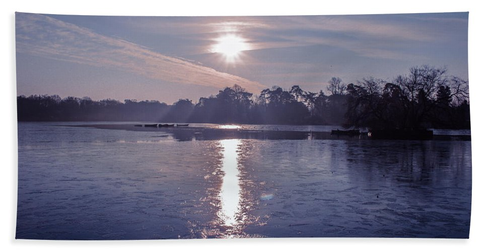 Lake Beach Towel featuring the photograph Frozen by Claire Lowe