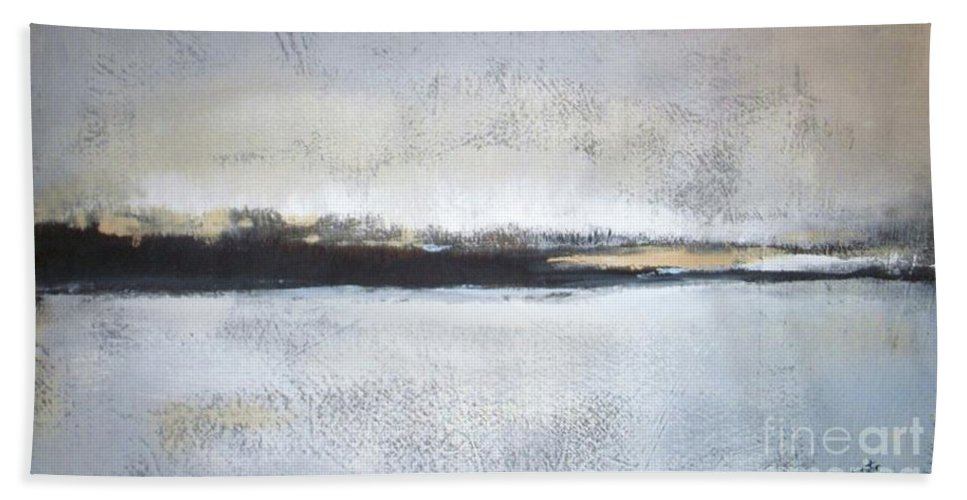 Landscape Beach Towel featuring the painting Frozen Winter Lake by Vesna Antic