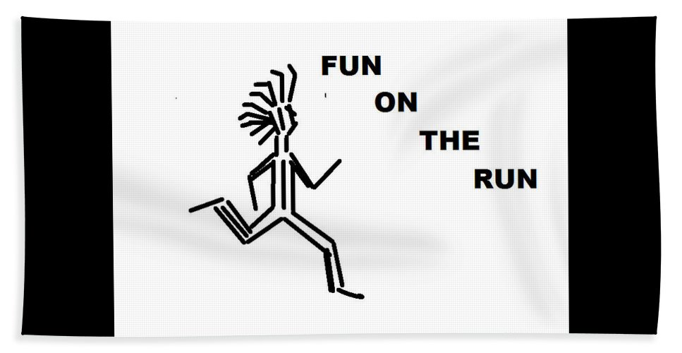 Drawingart Beach Towel featuring the drawing Fun on the RuN by Andrew Johnson