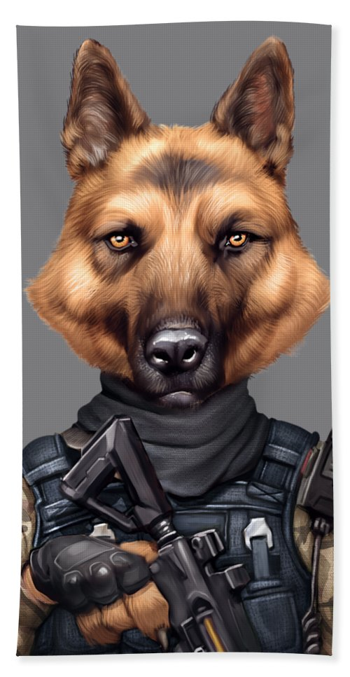 Funny Cool German Shepherd Soldier Dog Wearing Army Military Clothes