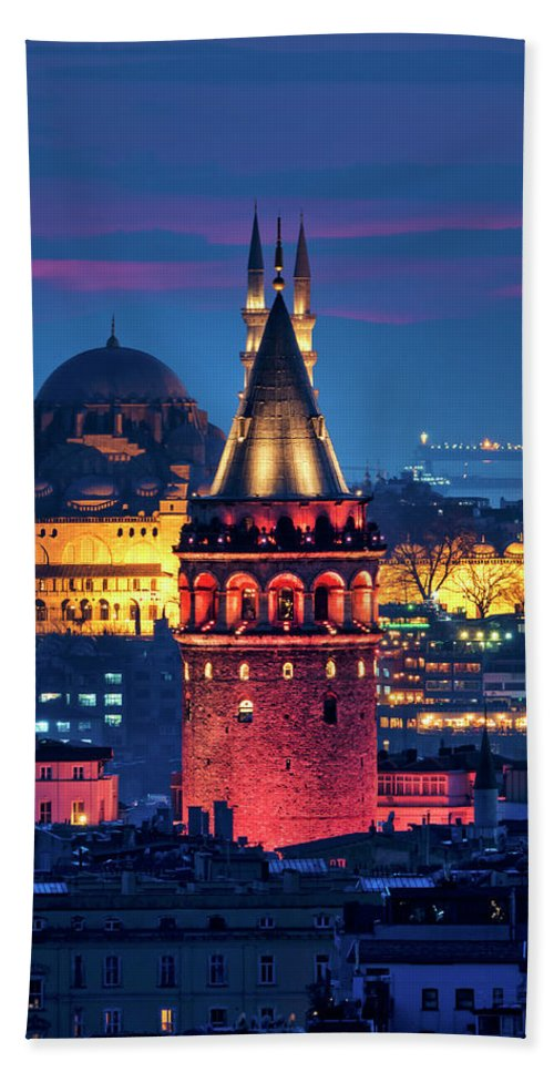 Galata Beach Towel featuring the photograph Galata Tower And Suleymaniye Mosque by Fabrizio Troiani