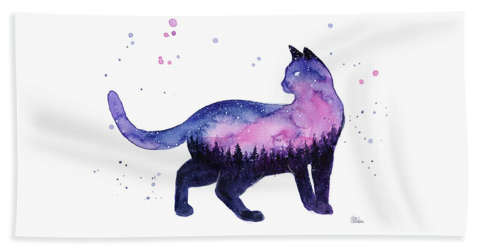 Nebula Beach Towel featuring the painting Galaxy Forest Cat by Olga Shvartsur