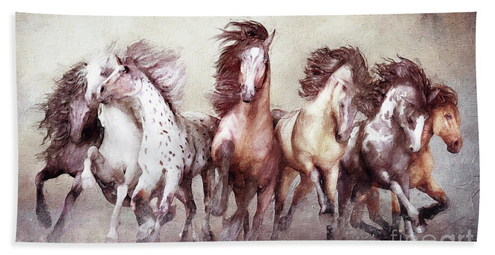 Magnificent Seven Horses Beach Towel featuring the digital art Galloping Horses Magnificent Seven by Shanina Conway