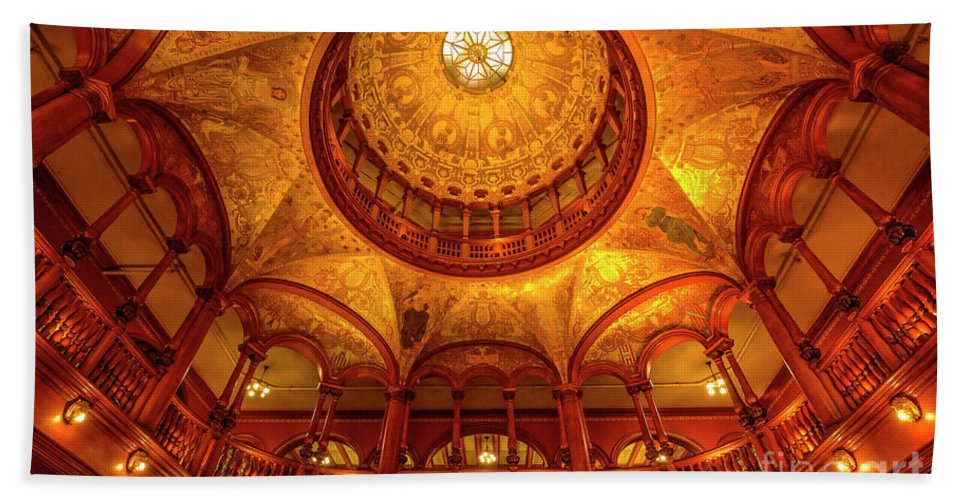 Gilded Age Beach Towel featuring the photograph Gilded Age, Flagler College Rotunda, Saint Augustine, Florida by Felix Lai