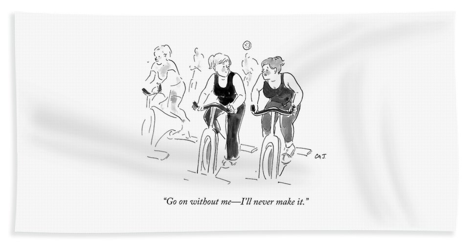 """""""go On Without Me—i'll Never Make It."""" Cycling Beach Sheet featuring the drawing Go On Without Me by Carolita Johnson"""