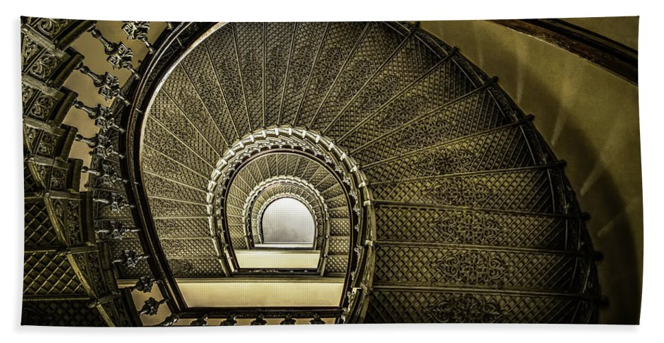 Architecture Beach Towel featuring the photograph Golden Stairway by Jaroslaw Blaminsky