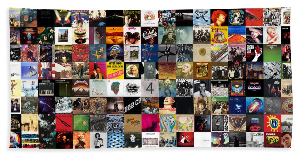 Album Covers Beach Towel featuring the digital art Greatest Rock Albums of All Time by Zapista OU