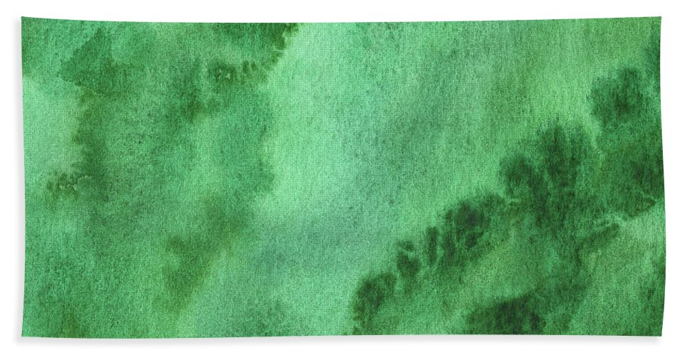 Abstract Beach Sheet featuring the painting Green Splashes And Glow Abstract Watercolor by Irina Sztukowski
